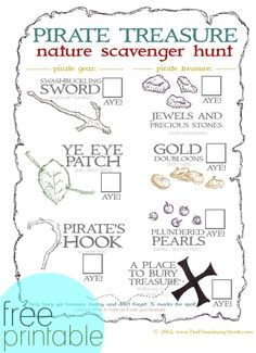 Free Pirate Treasure Nature Scavenger Hunt Printable for Pirate BD party Pirate Scavenger Hunts, Nature Scavenger Hunts, Pirate Birthday, Pirate Theme, Fairy Birthday, 5th Birthday, Pirate Activities, Pirate Preschool, Pirate Games