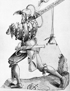 """1519, by Urs Graf (SWISS) Returning Landsknecht.  His sword reads """"all mein geld verspielt"""" which translates to """"lose all of my money."""""""