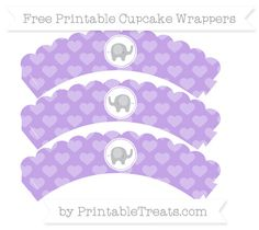 Free Pastel Purple Heart Pattern  Baby Elephant Scalloped Cupcake Wrappers