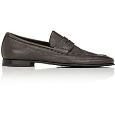 "Exclusively Ours! Barrett dark brown grained leather apron-toe penny loafers. 0.75""/20mm heel (approximately). Topstitched apron toe. Stacked heel. Slips on. …"