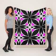 Mirrored Celtic ( Pink ) Fleece Blanket - black and white gifts unique special b&w style