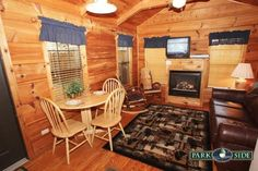 This cabin features a separate bedroom with a queen bed, full bath, fully equipped kitchen, gas fireplace, sleeper sofa and an outdoor hot tub on a beautiful deck overlooking a small mountain stream. They are a quick 15 minute drive from downtown Gatlinburg and is perfect for a rustic romantic getaway.