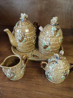 Vintage ceramic honey pot set, plate, tea pot, honey pot, creamer and sugar