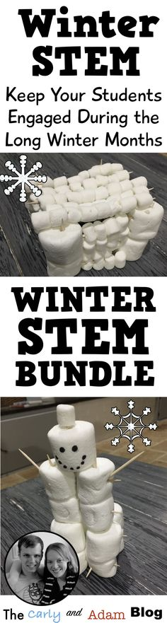 Looking for ways to engage students during the long winter months? Check out these engaging winter STEM activities! (Build a Snowman, Build a Sled, Snowball Fight, Build a Snow Fort)