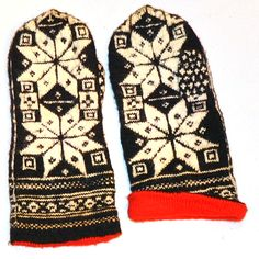 Latvian mittens, lined, made by my grandmother 50 years ago.