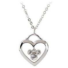 Heart with Swarovski Crystal Mickey Mouse Necklace by Arribas