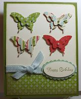 Stamp With Sue, Butterfly Card using Elegant Butterfly punch and Bitty Butterfly punch; Everyday Enchantment DSP
