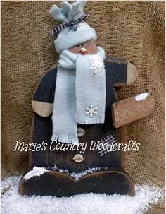 Hand Painted Wood Snowman all bundled up