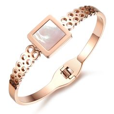 Luxury Rose Gold Plating Inlay Natural Shell Cuff Bangle Bracelet