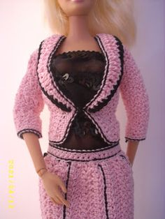 Crochet for Barbie (the belly button body type): Pink and Black Pinstripe Jacket