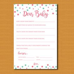 Baby Shower Printable Dear Baby INSTANT by DestinationInvite