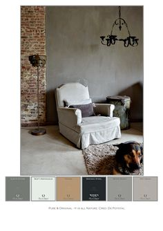 To inspire you a picture of a living room with used colors. On the wall is use the Fresco Lime Paint Earth Stone. Cred. De Potstal. www.pure-original.com