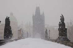 Charles Bridge in the snow, Prague, Czech Republic - one of my favorite places, in one of my favorite cities.