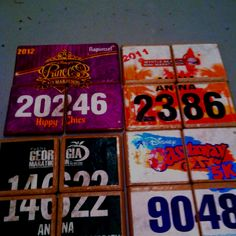 Turning running bibs into coasters with Modge Podge ...