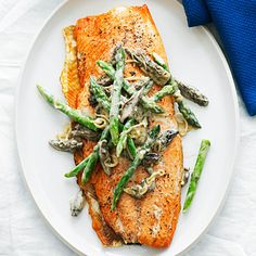 """Grilled king salmon with asparagus, morels and leeks. Some things are just meant to go together, like asparagus and #salmon. Add some leeks and morels into the mix and you've got a gourmet, but still light, low carb & sleep promoting dinner. We found this recipe in #Sunsetmagazine while browsing their """"Top 5 salmon recipes from Seattle chefs"""" article. Sleep Smart 