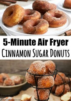 Cinnamon Sugar Air Fryer Donuts - - Cinnamon Sugar Air Fryer Donuts Best Desserts EVER! Air Fryer Donuts that are made from refrigerated biscuits! Just and 5 minutes to make. These delicious donuts will be your new favorite Air Fryer recipe! Air Frier Recipes, Air Fryer Oven Recipes, Air Fryer Dinner Recipes, Air Fryer Recipes Donuts, Nuwave Oven Recipes, Air Fryer Recipes Breakfast, Street Food Paris, Air Fried Food, Cinnamon Sugar Donuts