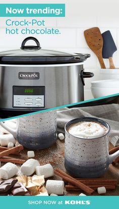 Find easy ways to make Crock-Pot hot chocolate at Kohl's. Crockpot Hot Chocolate, Hot Chocolate Recipes, Crock Pot Slow Cooker, Crock Pots, Cooker Recipes, Crockpot Recipes, Reeses Cake, Sausage Bread, Cinnamon Tea