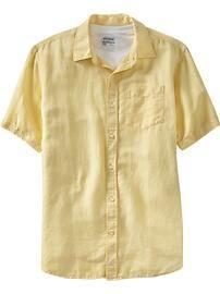 Men's Linen-Blend Regular Fit Shirts