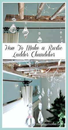 How To Make a Rustic Ladder Chandelier Create composition, ambiance & light using crystals, fairy lights and a vintage ladder. It's easy and looks amazing. Vintage Ladder, Rustic Ladder, Ladder Decor, Home Office Decor, Diy Home Decor, Decor Crafts, Home Crafts, Farmhouse Lighting, Cool Lighting