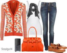 """Orange & Gray"" by socalgurl4 on Polyvore"