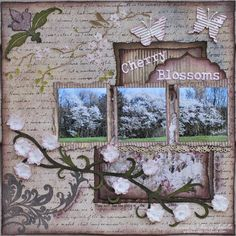 Garden of Grace: Cherry Trees ~ ScrapFIT Reveal for Workout Wedding Scrapbook, My Scrapbook, Scrapbooking, Scrapbook Layouts, Cherry Blossom Decor, Cherry Blossoms, Modeling Paste, Cherry Tree, Flower Crafts