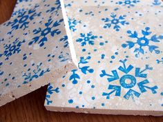 coasters natural stone tumbled tile snowflakes by serenitylane, $21.00
