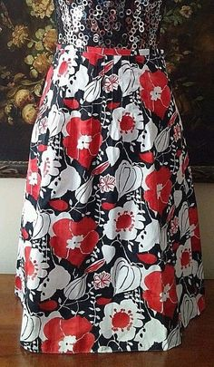 TALBOTS FLORAL SKIRT SZ 4 RED BLACK WHITE PRINCESS PLEATS 100% COTTON $89 #Talbots #ALine