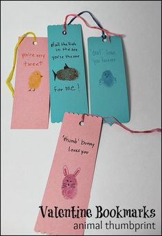 Animal Thumbprint Valentine Bookmarks #craft