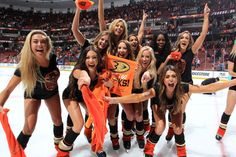 Anaheim Ducks Power Players cheer following the Ducks' 4-3 win after double overtime against the Edmonton Oilers in Game Five of the Western Conference Second Round during the 2017 NHL Stanley Cup Playoffs at Honda Center on May 5, 2017 in Anaheim, California.