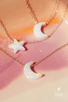 Add some celestial flair to your everyday with our adorable moon and star opal necklaces. Opal Necklace, Moon Necklace, Initial Necklace, Birthstone Stacking Rings, Moon Charm, White Opal, Dainty Jewelry, Gemstone Colors, Rose Gold