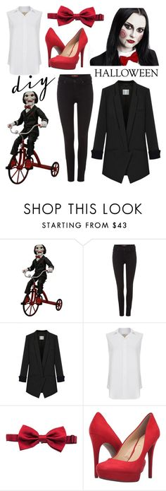 """DIY Halloween Costume #5"" by kingsoflea ❤ liked on Polyvore featuring 7 For All Mankind, Current/Elliott, Dolce&Gabbana, Jessica Simpson, halloweencostume, saw, DIYHalloween and billypuppet"