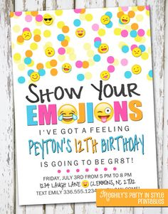 Emoji Inspired Invitation by Meghilys on Etsy Emoji Invite, emoji, emoticon, emoji birthday