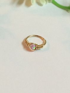 Tiny Hoop Nose Ring - Opal Nose Ring - Septum Nose Ring - Gold Filled Nose Ring - Nose Piercing Ring - Nose Ring - Opal Nose Hoop - Hoop