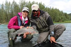 It's rainbow trout time in Alaska as the big trout start feeding on salmon eggs from spawning salmon in all our rivers. We floated the Upper Kenai Thursday with visitor Min Lei, from San Diego, and the rainbows were hungry! For her first time in Alaska, Min made it look easy, catching many big rainbows like this. Great thanks to guide Kyle Kolodziejski and Alaska Wildland Adventures.