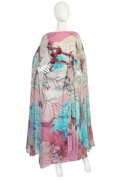 1970s Hanae Mori Couture Silk Chiffon Scenic Floral Dress