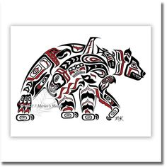 11x14 Kodiak - Native American Art, Haida Tlingit Bear, Pacific Northwest Coast Art, Alaska Art Decor - RED. Kodiak This is the fourth piece done in the Haida / Tlingit style. Growing up, bears were a regular part of life, and we saw them on a regular basis. in fact, watching them at the dump was a common entertainment! When we were sick as kids, we were installed on a fold out couch with a bear hide covering us. The grizzly bear is a powerful symbol, and a powerful animal. The Kodiak…