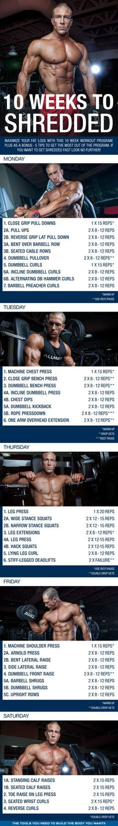 (Click through to download PDF!) Maximize your fat loss for the rest of summer with this 10 week workout program. Plus as a bonus - 5 tips to get the most fat loss out of the program! #workout #gym #fitness #bodybuilding