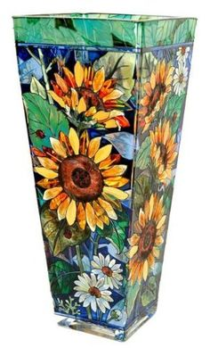 """Amia 9679 Vase with Sunflower Design, Hand-painted Glass, 4-1/4-Inch W by 4-1/4-Inch L by 10-Inch H by Amia. $45.00. Hand-painted glass. 4-1/4-inch w by 4-1/4-inch l by 10-inch h. Functional gift item. Bright and beautiful in a myriad of color and design, this Amia individually hand-painted vase with sunflowers will will say """"pay attention to me""""."""