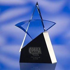 METAL & GLASS STAR AWARD TROPHY