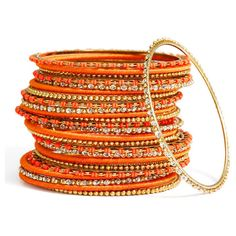 Cara Accessories Mix Media Bangles (Set of 24) ($29) ❤ liked on Polyvore featuring jewelry, bracelets, accessories, orange, bangles, multi color bracelet, bead bracelet, bangle bracelet, beaded wrap bracelet and hinged bracelet