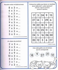 Cuaderno tablas de multiplicar (6) Multiplication Facts Worksheets, 3rd Grade Math Worksheets, Multiplication And Division, Math For Kids, Games For Kids, Times Tables, Teaching Time, Prepositions, Periodic Table