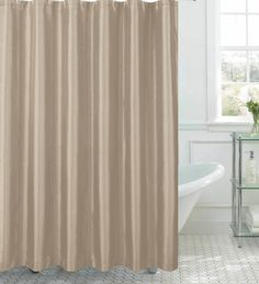 Faux Silk Shower Curtain with Metal Roller Hooks