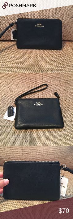 NWT Coach Wristlet NWT Black Leather Coach Wristlet! Has two credit card slots with a zip top closure. Dimensions: 6 inch length and 4 inch height. Perfectly sized for cash, cards and other small items. Can fit an iPhone 7 with case (as seen in picture) but can be a bit snug. Can be carried on the wrist or clipped inside of a larger bag. Perfect for all occasions!! Coach Bags Clutches & Wristlets