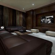 Dramatic Use Of Fabric In Curtains Media Room Rooms Leather Sofas