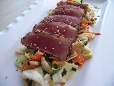 Seared Ahi Tuna with Asian Cabbage Slaw - simple, healthy, delicious. Slaw Recipes, Fish Recipes, Seafood Recipes, Paleo Recipes, Paleo Meals, Asian Cabbage Salad, Cabbage Slaw, Ahi Tuna Recipe, Seared Tuna