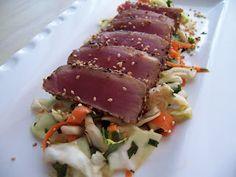 Seared Ahi Tuna with Asian Cabbage Slaw - simple, healthy, delicious. Ahi Tuna Recipe, Tuna Recipes, Seafood Recipes, Soup Recipes, Asian Cabbage Salad, Cabbage Slaw, Healthy Family Meals, Paleo Meals, Healthy Foods