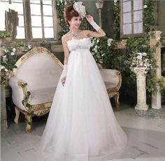 Aliexpress.com : Buy Empire Floor Length Strapless Tulle with Feather Wedding Dresses from Reliable feather wedding dress suppliers on HONEYSTORE CO., LIMITED $300.28