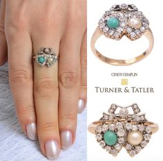 What a #beauty this #victorian #antique double heart #ring set with a #cabochon #turquoise & #pearl and #oldeuropeancut #diamond bow top & heart shape #diamond edged. Available at Turnerandtatler.com