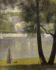 Georges Seurat    La Seine à Courbevoie    Artiste peintre de la fin du 19e siècle, Georges Seurat était un peintre de style Néo-Impressionniste. Auteur de nombreux tableaux dont La Seine à Courbevoie.