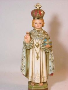 VINTAGE-INFANT-JESUS-OF-PRAGUE-CHALKWARE-STATUE-CHRIST-CHILD-OLD-RELIGIOUS